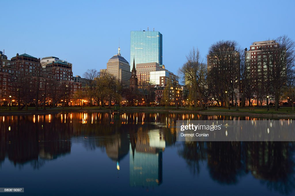 USA, Massachusetts, Boston, Copley Square at sunset