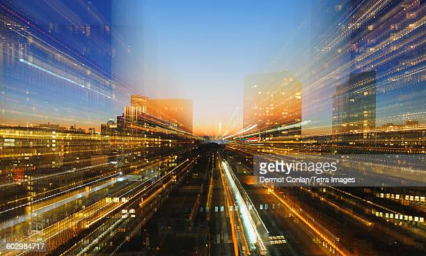 USA, Massachusetts, Boston, Financial District, Composite image of illuminated financial district at dusk