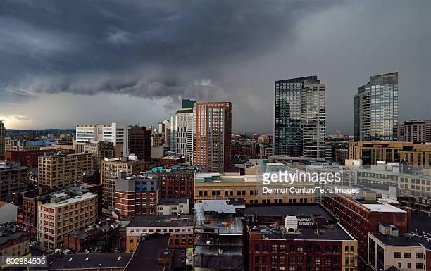 USA, Massachusetts, Boston, Storm clouds over city