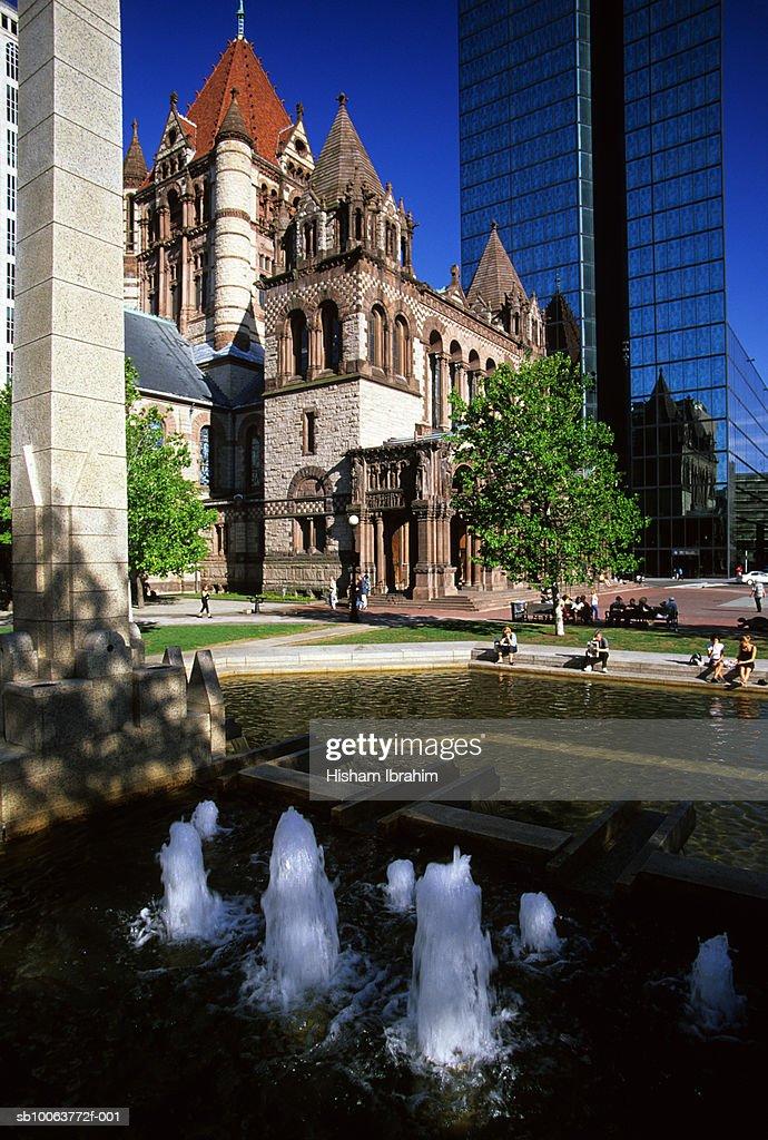 USA, Massachusetts, Boston, Trinity Church and John Hancock Tower in Copley Square