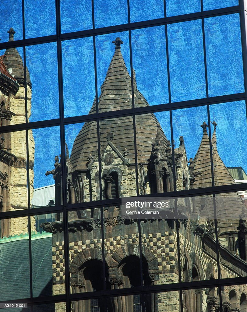 USA, Massachusetts, Boston, Trinity Church reflected in glass windows