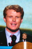 Massachusetts candidate for Congress Joe Kennedy III speaks on stage during day one of the Democratic National Convention at Time Warner Cable Arena...