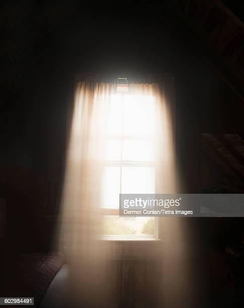 USA, Massachusetts, Cape Cod, Truro, Light colored curtains in window