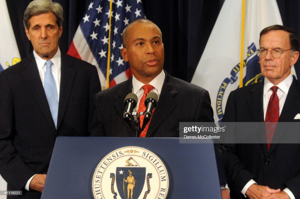 Massachusetts Democratic Governor <a gi-track='captionPersonalityLinkClicked' href=/galleries/search?phrase=Deval+Patrick&family=editorial&specificpeople=3980449 ng-click='$event.stopPropagation()'>Deval Patrick</a> (C) speaks as U.S. Senator <a gi-track='captionPersonalityLinkClicked' href=/galleries/search?phrase=John+Kerry&family=editorial&specificpeople=154885 ng-click='$event.stopPropagation()'>John Kerry</a> (D-MA) (L) and Interim Senator Paul G. Kirk Jr. (D-MA) look on at a press conference on September 24, 2009 at the Statehouse in Boston, Massachusetts. Kirk, the former Democratic National Committee (DNC) chairman, will take over Sen. Edward M. Kennedy's seat that was left vacated from his passing on August 25.