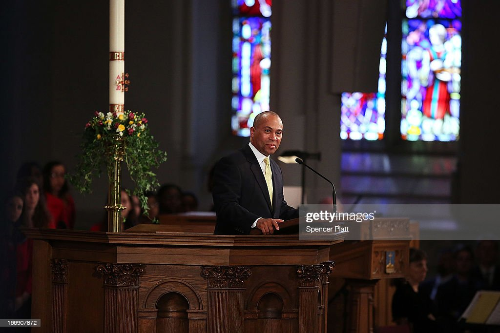 Massachusetts Gov Deval Patrick speaks at an interfaith prayer service for victims of the Boston Marathon attack titled 'Healing Our City' at the...