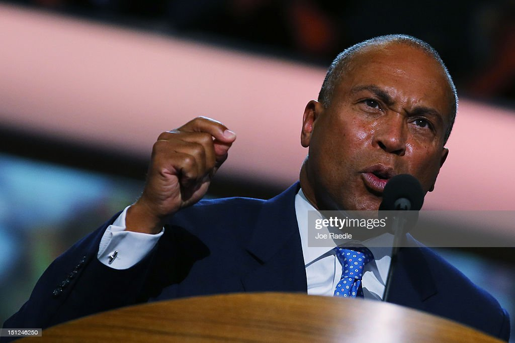 Massachusetts Gov Deval Patrick speaks during day one of the Democratic National Convention at Time Warner Cable Arena on September 4 2012 in...