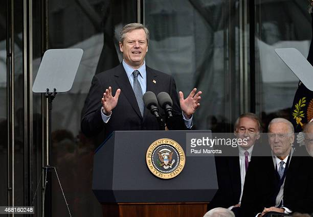 Massachusetts Governor Charles Baker speaks at the Dedication Ceremony at Edward M Kennedy Institute for the United States Senate on March 30 2015 in...