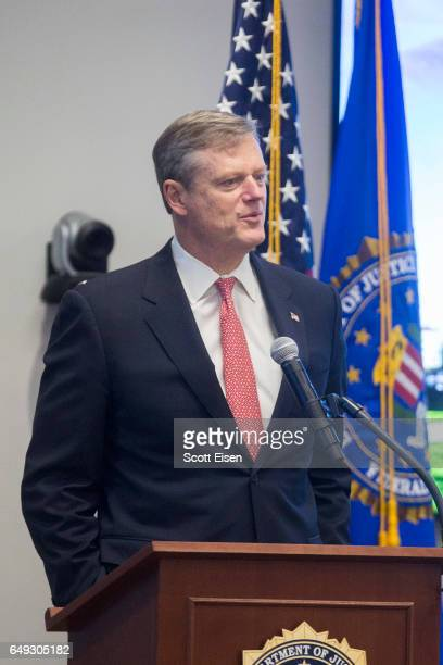 Massachusetts Governor Charlie Baker attends the opening of FBI Boston Headquarters on March 7 2017 in Chelsea Massachusetts Director Comey was in to...