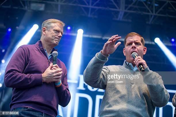 Massachusetts Governor Charlie Baker left and Boston Mayor Martin J Walsh at the Forbes U30 Music Festival on October 16 2016 in Boston Massachusetts