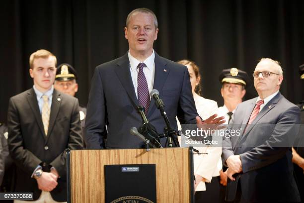 Massachusetts Governor Charlie Baker speaks about the filing of an act relative to the harmful distribution of sexually explicit visual material at...