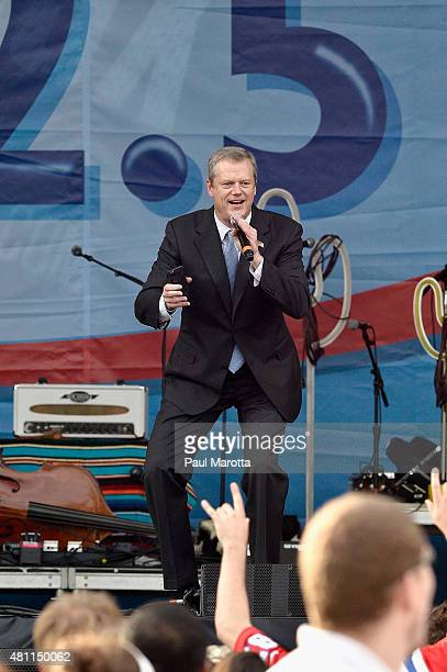 Massachusetts Governor Charlie Baker takes a selfie at the Outside the Box Festival Boston at Boston Common on July 17 2015 in Boston Massachusetts