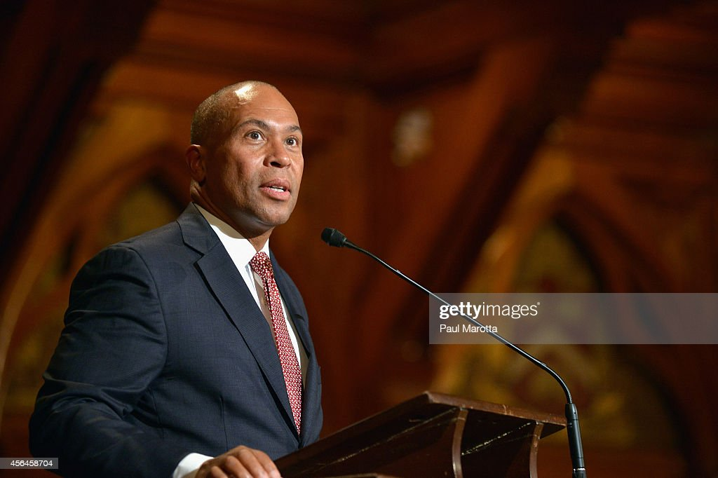 Massachusetts Governor <a gi-track='captionPersonalityLinkClicked' href=/galleries/search?phrase=Deval+Patrick&family=editorial&specificpeople=3980449 ng-click='$event.stopPropagation()'>Deval Patrick</a> attends the W.E.B. Du Bois Medal Ceremony and introduces John Lewis at Harvard University's Sanders Theatre on September 30, 2014 in Cambridge, Massachusetts.
