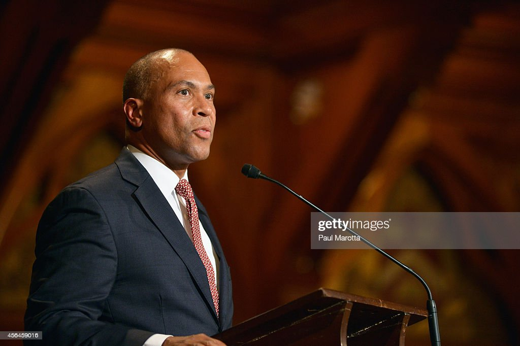 Massachusetts Governor Deval Patrick attends the WEB Du Bois Medal Ceremony and introduces John Lewis at Harvard University's Sanders Theatre on...