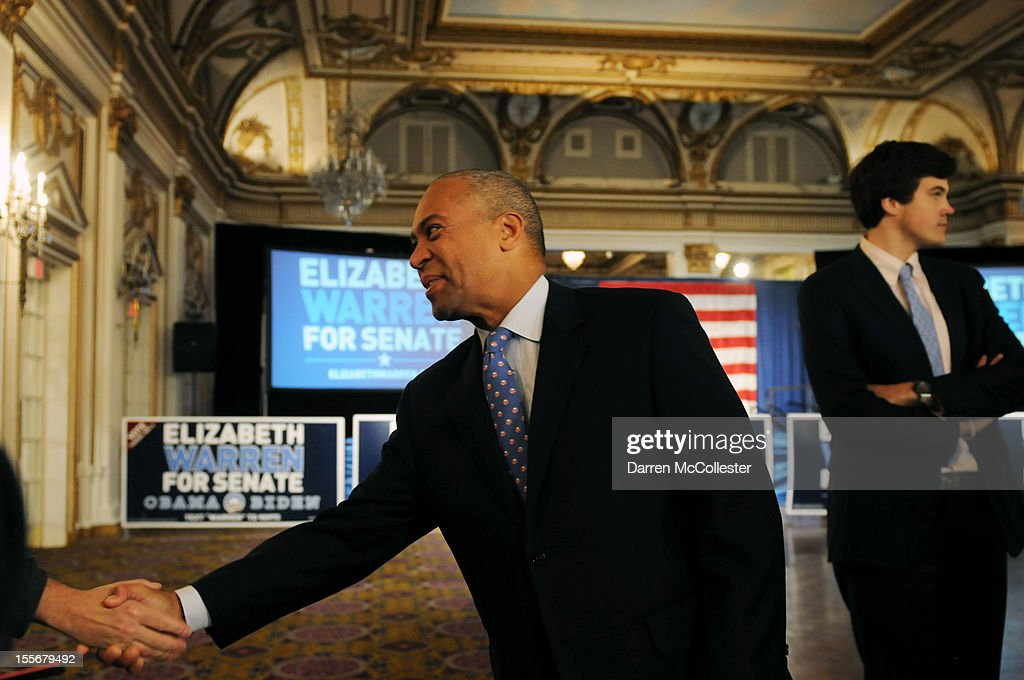 Massachusetts Governor Deval Patrick enters Elizabeth Warren headquarters at the Copley Fairmont Hotel November 6, 2012 Boston, Massachusetts. The Elizabeth Warren/Scott Bown campaign for U.S. Senate is being closely watched by both parties after Brown took office in a 2010 special election, replacing the late U.S. Senator Edward M. Kennedy. Photo by Darren McCollester/Getty Images)