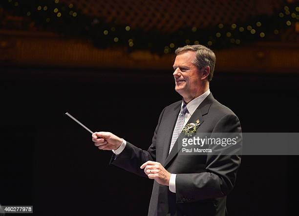 Massachusetts Governor Elect Charlie Baker conducts 'Sleigh Ride' with Keith Lockhart and the Boston Pops at A Company Christmas At Pops at Symphony...
