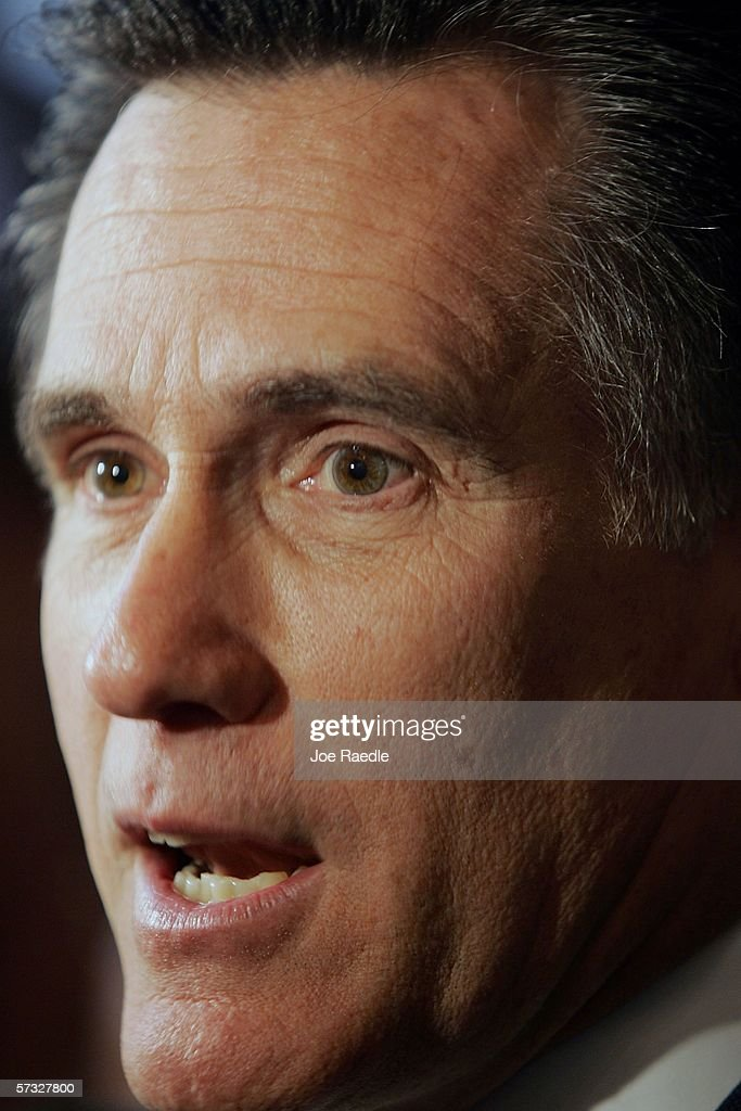Massachusetts Governor Mitt Romney speaks after signing into law a new health care reform bill during a ceremony at Faneuil Hall April 12, 2006 in Boston, Massachusetts. The law makes Massachusetts the first state in the country to require that all residents have health insurance.