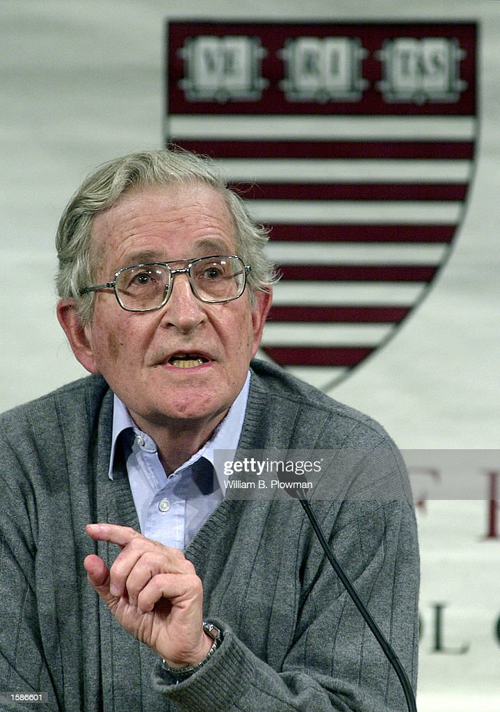 Massachusetts Institute of Technology professor of linguistics Noam Chomsky speaks during a program titled 'Why Iraq?' attended by an overflow crowd at Harvard University November 4, 2002 in Cambridge, Massachusetts. Chomsky has been outspoken in his criticism of U.S. foreign policy.