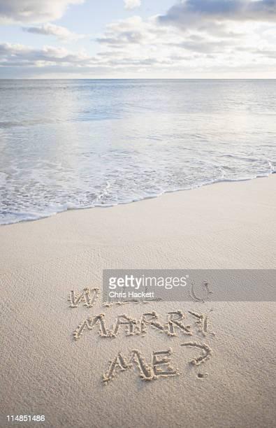 USA, Massachusetts, message on beach