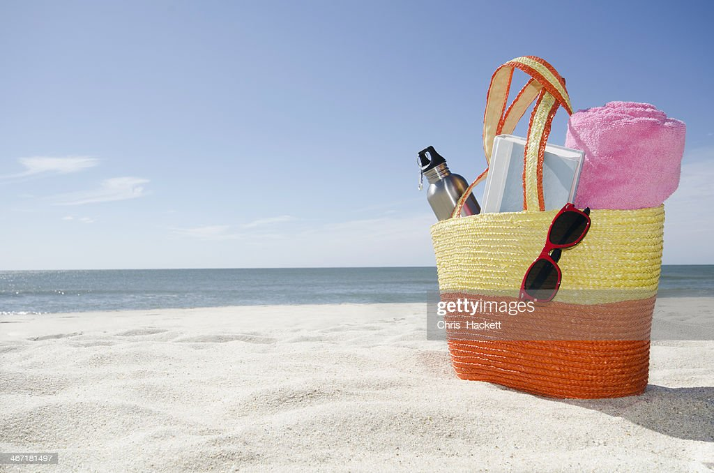 USA, Massachusetts, Nantucket, Beach bag with accessories