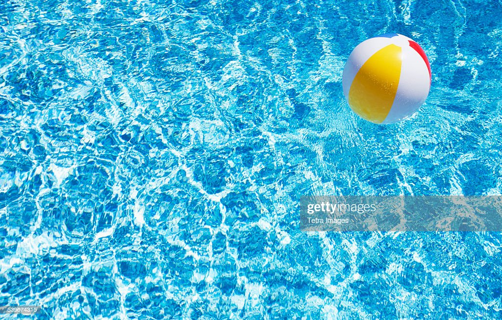 USA, Massachusetts, Nantucket, Beach ball in swimming pool