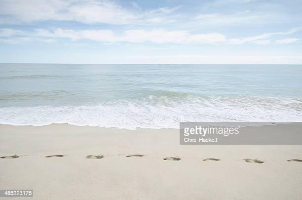 USA, Massachusetts, Nantucket, Foorprints on beach