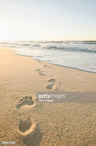 USA, Massachusetts, Nantucket, Footprints on beach