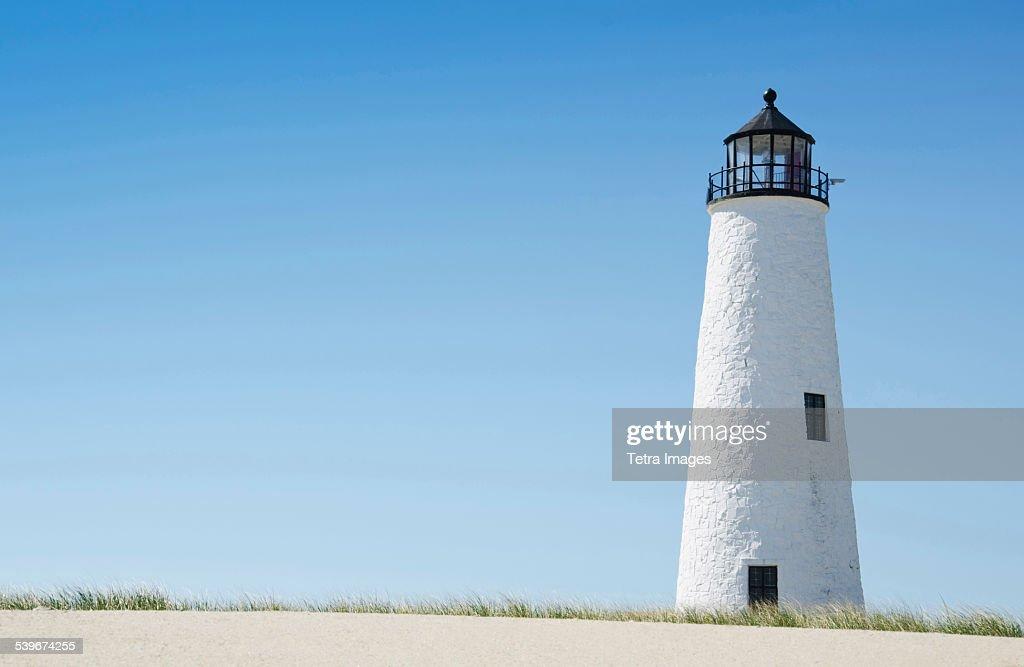 USA, Massachusetts, Nantucket, Great Point Lighthouse, View of lighthouse