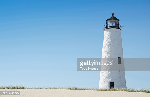USA, Massachusetts, Nantucket, Great Point Lighthouse, View of lighthouse