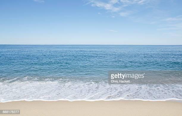 USA, Massachusetts, Nantucket Island, Great Point, Beach with blue sky