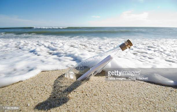 USA, Massachusetts, Nantucket Island, Message in bottle