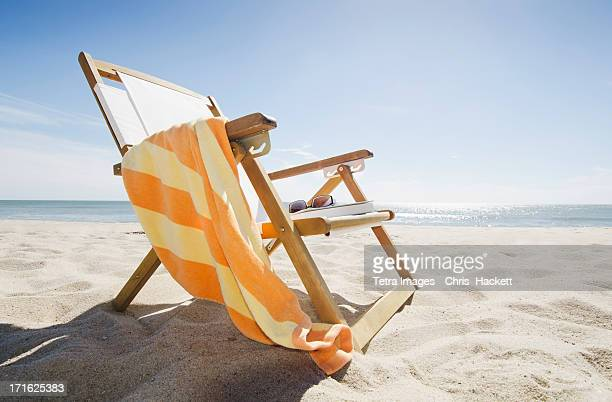 USA, Massachusetts, Nantucket Island, Sun chair on sandy beach