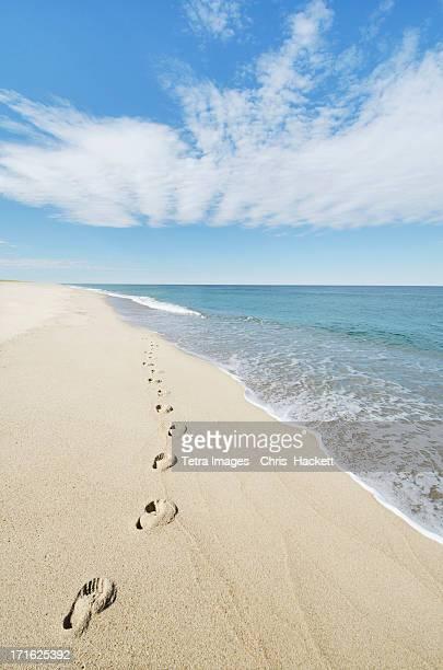 USA, Massachusetts, Nantucket, Nantucket Island, Footprints on sandy beach