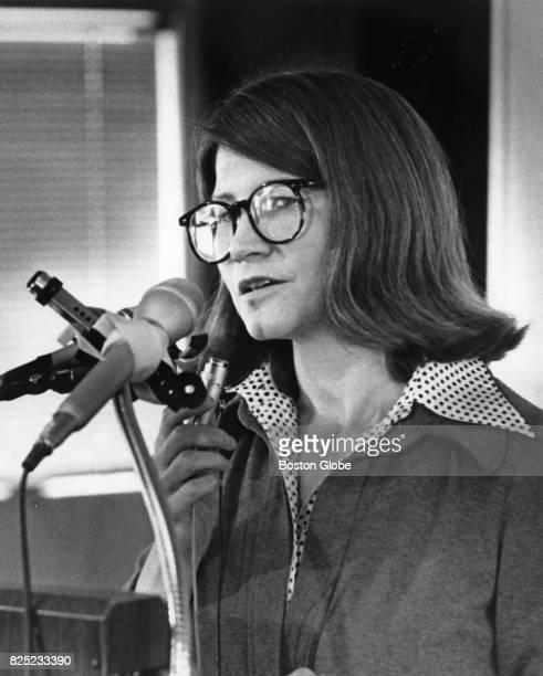 Massachusetts Secretary of Environmental Affairs Evelyn Murphy speaks at the New England Aquarium in Boston April 21 1978