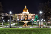 View of the Massachusetts State House from the Boston Common, a night shoot