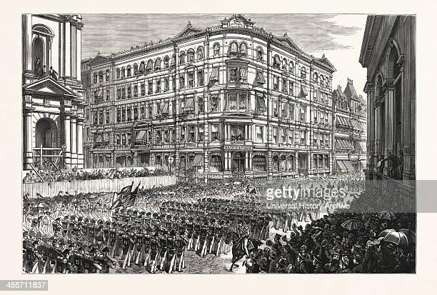 The Boston Celebration The TwentyThird Regiment NGSNY Passing The Maverick National Bank Post Office Square