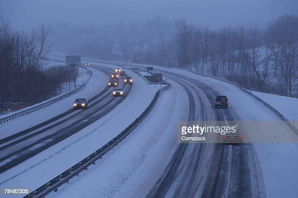 Massachusetts turnpike with snow