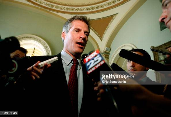 Massachusetts US Senatorelect Scott Brown talks with members of the news media during a series of meetings with senators on Capitol Hill January 21...