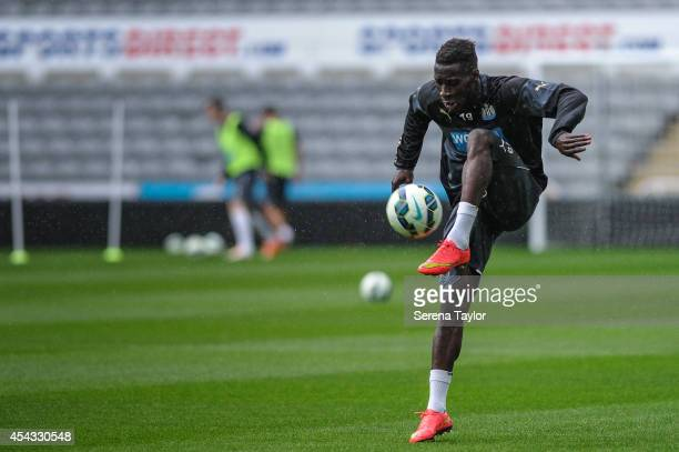 Massadio Haidara controls the ball during a Newcastle United Training Session at StJames Park on August 29 in Newcastle upon Tyne England