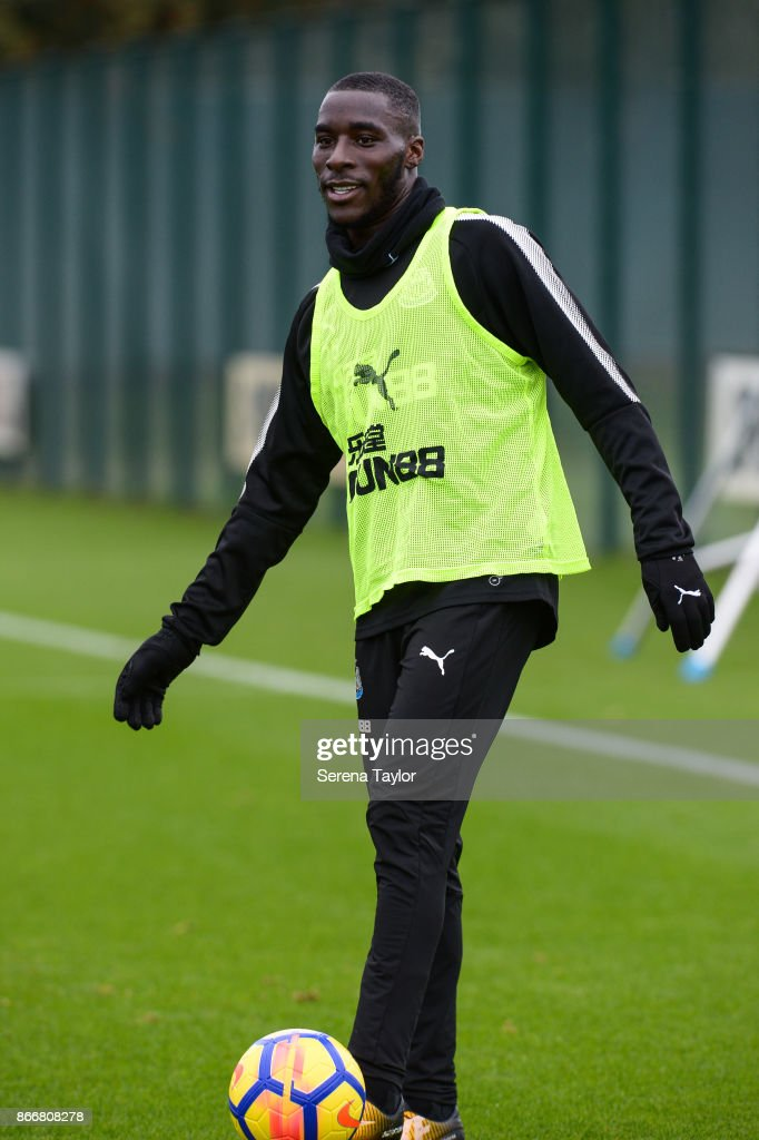 Massadio Haidara controls the ball during the Newcastle United Training Session at The Newcastle United Training Centre on October 26, 2017, in Newcastle, England.