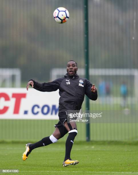Massadio Haidara crosses the ball during the Newcastle United Training session at the Newcastle United Training Centre on October 19 in Newcastle...