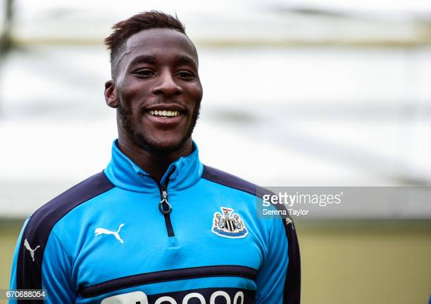 Massadio Haidara during a visit from Hebburn Town Girls Football Club at the Newcastle United Training Ground on April 20 2017 in Newcastle upon Tyne...
