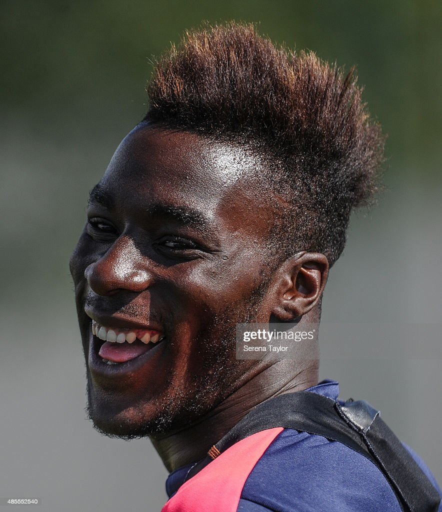 Massadio Haidara laughs during the Newcastle United Training session at The Newcastle United Training Centre on August 28, 2015, in Newcastle upon Tyne, England.