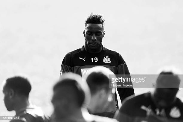 Massadio Haidara looks on during a Newcastle United training session at Newtown Park on July 24 2014 in Wellington New Zealand