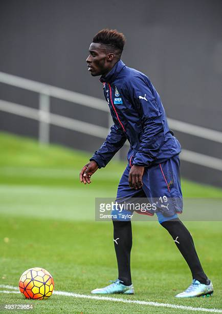Massadio Haidara looks to pass the ball during the Newcastle United Training session at The Newcastle United Training Centre on October 22 in...