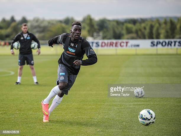 Massadio Haidara looks to receive the ball during a Newcastle United First Team Training Session at the Newcastle United Training Centre on August 15...