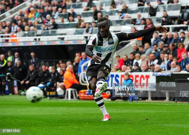 Massadio Haidara of Newcastle United crosses the ball during the Sky Bet Championship Match between Newcastle United and Barnsley at StJames' Park on...