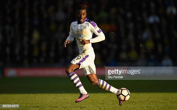 Massadio Haidara of Newcastle United in action during The Emirates FA Cup Fourth Round match between Oxford United and Newcastle United at Kassam...