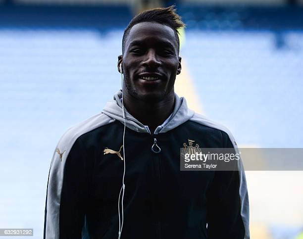 Massadio Haidara of Newcastle United smiles at the camera prior to kick off of The Emirates FA Cup Fourth Round between Oxford United and Newcastle...