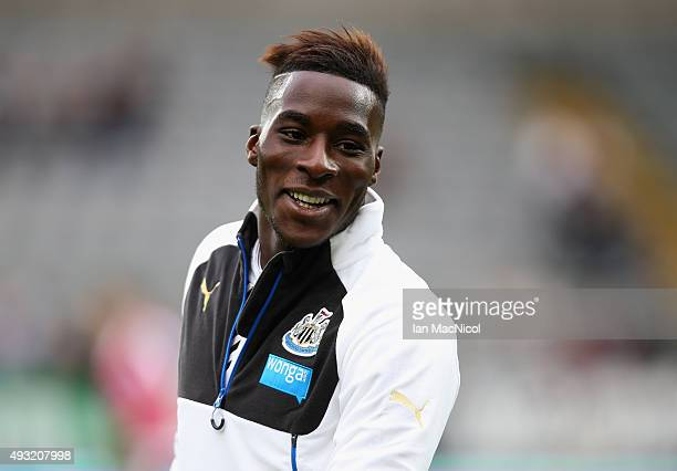 Massadio Haidara of Newcastle United warms up prior to the Barclays Premier League match between Newcastle United and Norwich City at St James' Park...