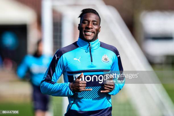 Massadio Haidara smiles as he runs outside during the Newcastle United Training Session at The Newcastle United Training Centre on April 4 2017 in...
